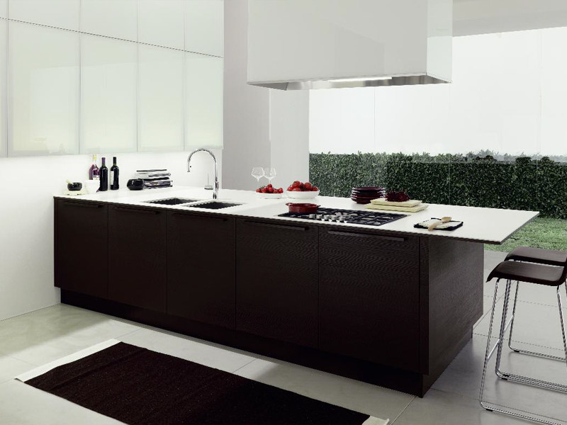 Contemporary style fitted kitchen with island VANITY TOP - Euromobil