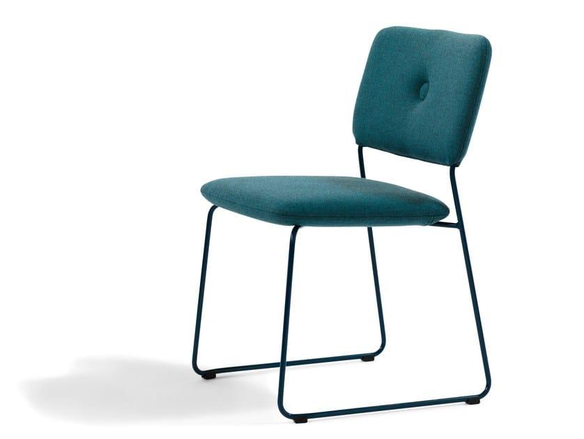 Sled base upholstered chair DUNDRA | Sled base chair - Blå Station