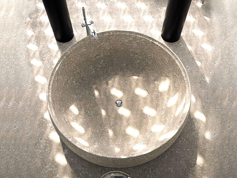 Vasca da bagno centro stanza in pietra gral collezione - Vasca da bagno rivestita in pietra ...