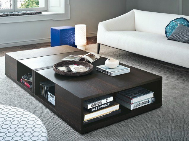 Low square wood veneer coffee table CLASS | Coffee table - Poliform