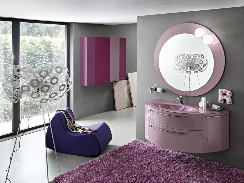 Wall-mounted vanity unit with mirror PLAY | Wall-mounted vanity unit - Cerasa