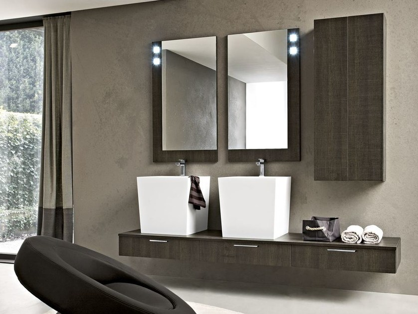 Wall-mounted wooden vanity unit PLAY | Wooden vanity unit - Cerasa