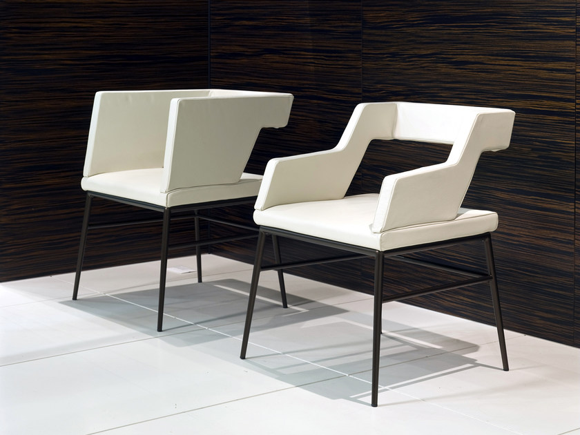 Upholstered leather chair with armrests SISSI | Chair by i 4 Mariani