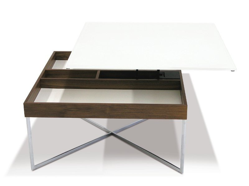 Lacquered square MDF coffee table PLUTO - Ronald Schmitt
