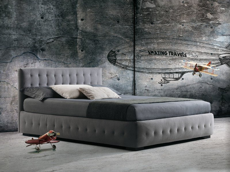 Storage bed with tufted headboard PHUKET - Milano Bedding