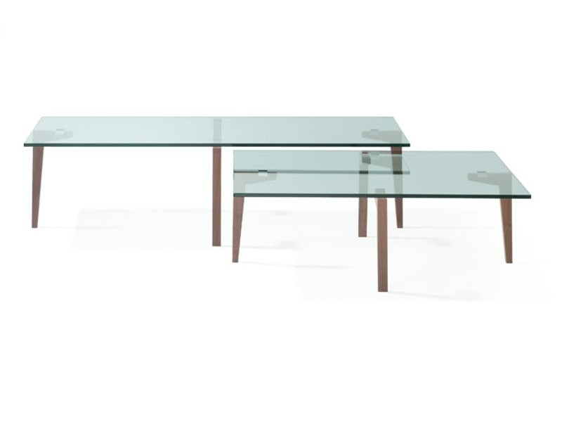 Rectangular stainless steel coffee table BLISS - Ronald Schmitt
