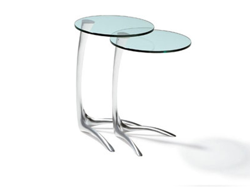 Round glass and steel coffee table K 385 | Coffee table - Ronald Schmitt