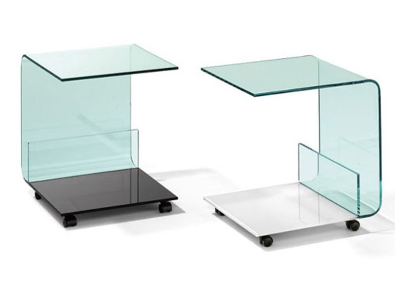 Glass coffee table with casters K 704 | Coffee table - Ronald Schmitt