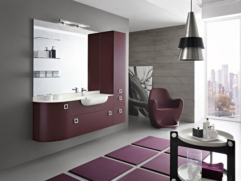 Wall-mounted vanity unit with drawers with mirror PLAY | Vanity unit with mirror - Cerasa