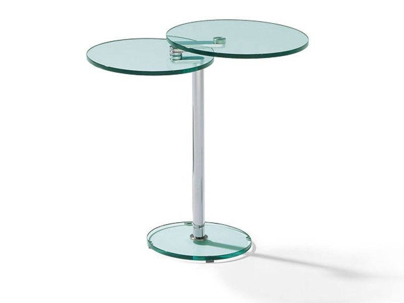 Adjustable round glass coffee table GONZALES by Ronald Schmitt