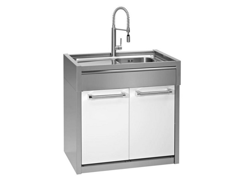 Kitchen unit with single sink GENESI | Kitchen unit with single sink - Steel