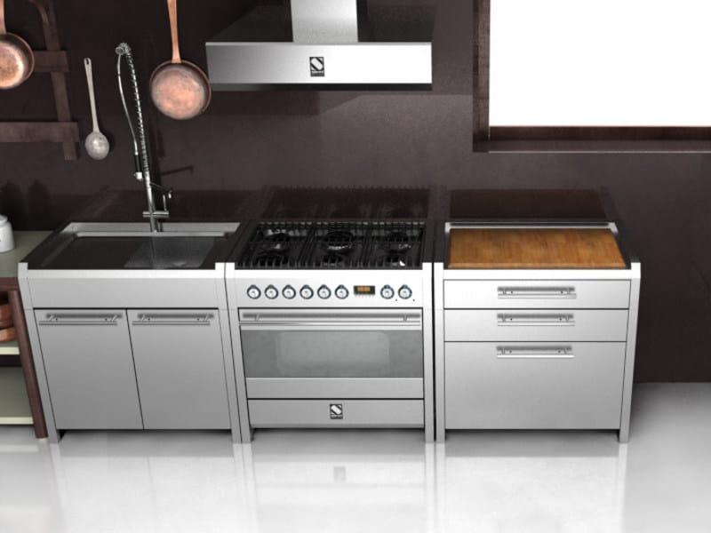Modulo cucina freestanding in acciaio inox e legno sintesi - Cucina freestanding ...