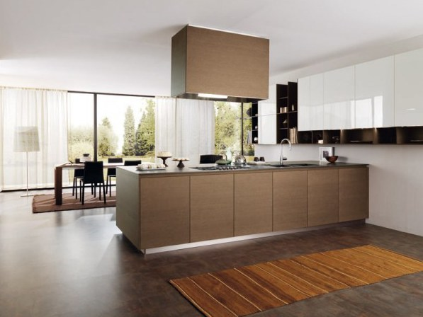 Fitted kitchen with island FILOE25 - E25 by Euromobil