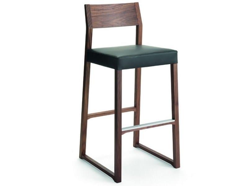 Sled base leather counter stool LINEA | Counter stool - CIZETA