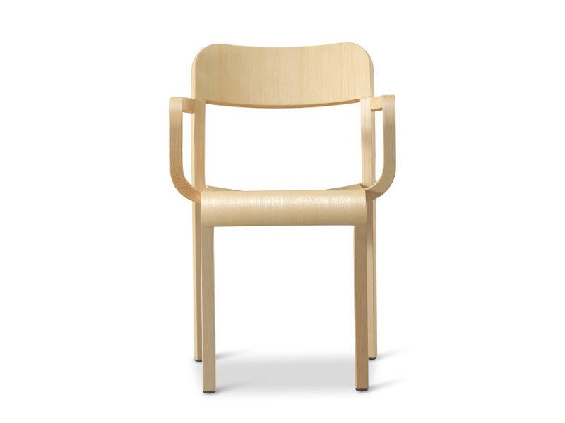 Stackable wooden chair with armrests