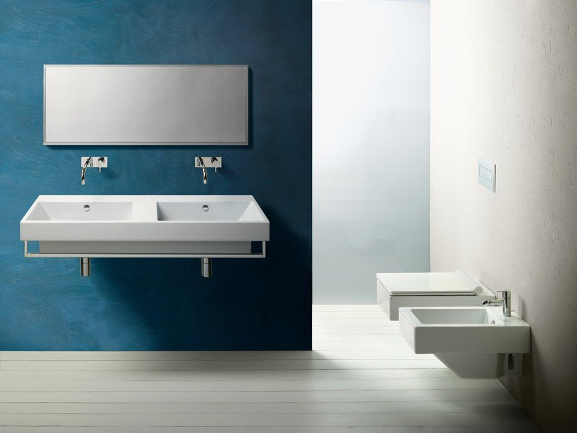 Double wall-mounted ceramic washbasin ZERO 125 | Double washbasin - CERAMICA CATALANO