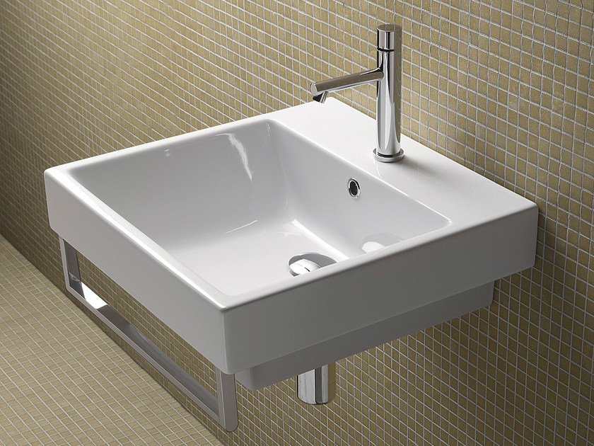 Rectangular wall-mounted ceramic washbasin - Zero 50 | cod. 15QZE00