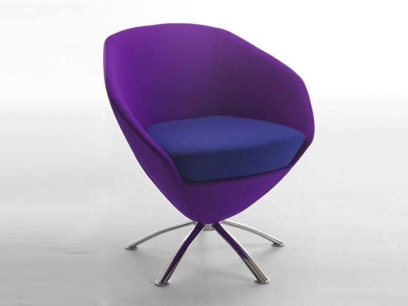 Swivel fabric easy chair with 4-spoke base FLEUR | Easy chair with 4-spoke base - CIZETA