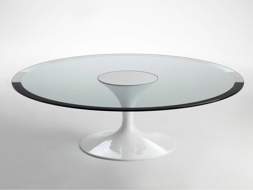 Low round steel coffee table