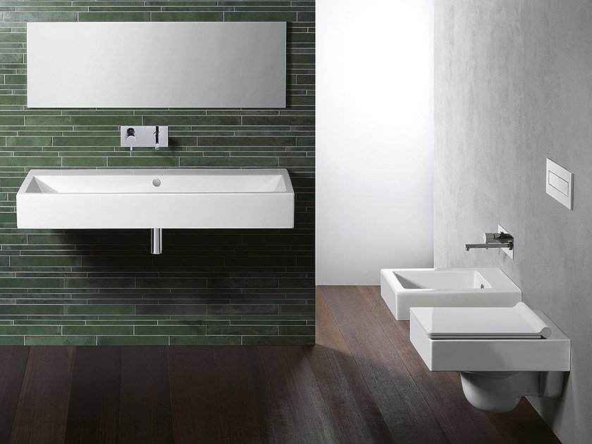 Rectangular wall-mounted ceramic washbasin VERSO 120 | Rectangular washbasin - CERAMICA CATALANO
