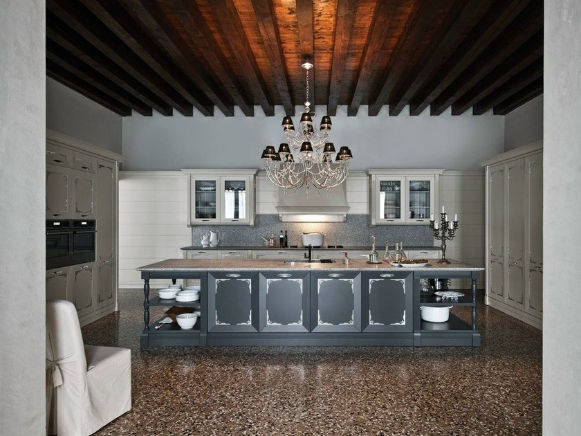 Lacquered kitchen with island ETOILE - COMPOSITION 2 by Cesar Arredamenti