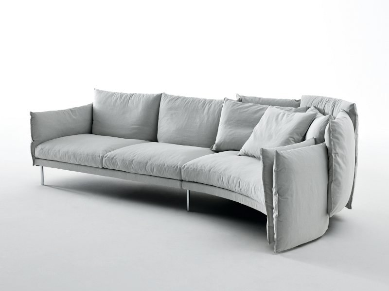 Sectional fabric sofa with removable cover BLACK SWAN - Saba Italia