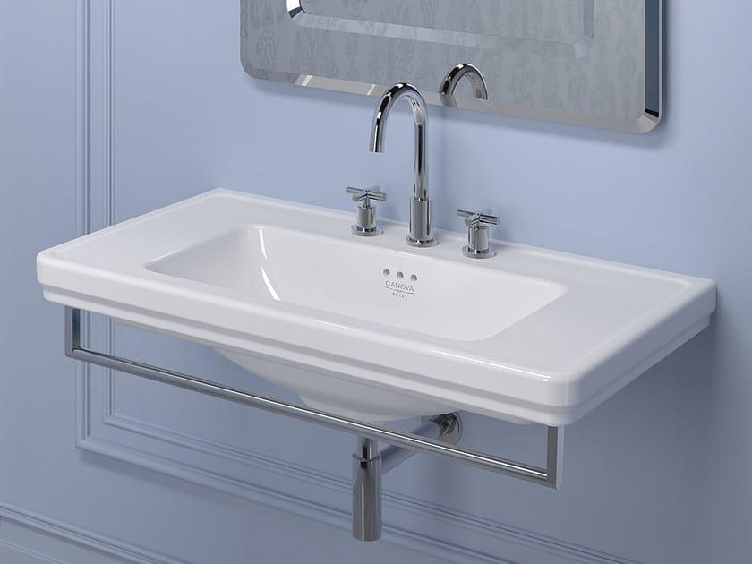 Classic style rectangular wall-mounted washbasin