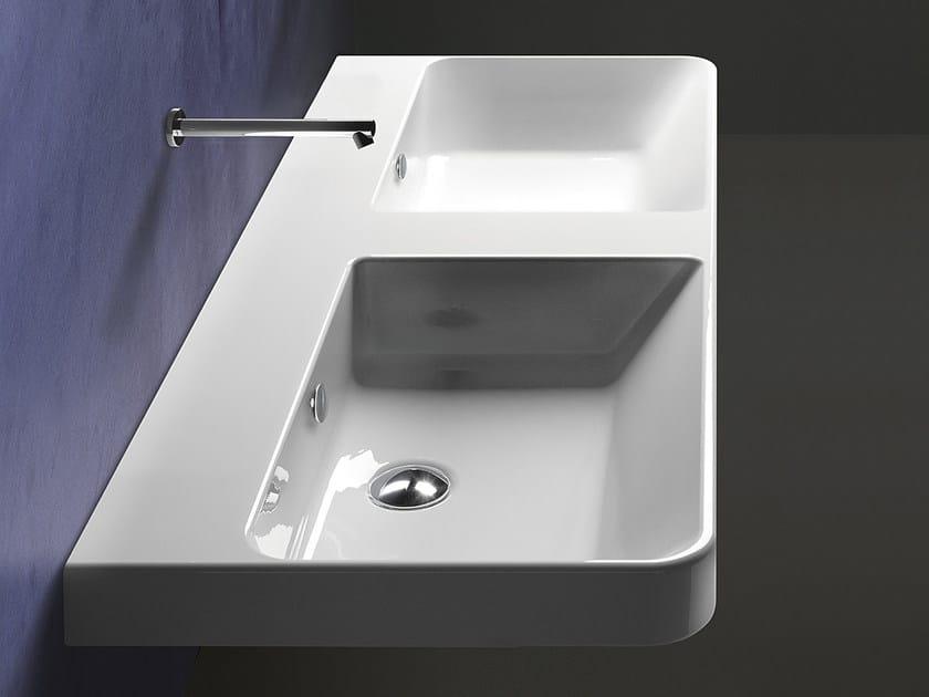 Double wall-mounted ceramic washbasin PROIEZIONI 120 | Washbasin - CERAMICA CATALANO