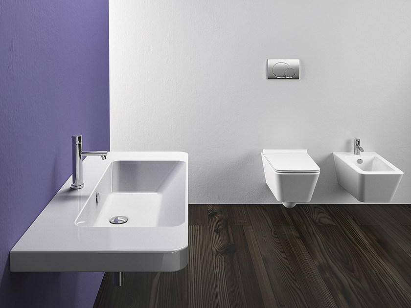 Rectangular wall-mounted ceramic washbasin PROIEZIONI 105 | Washbasin - CERAMICA CATALANO