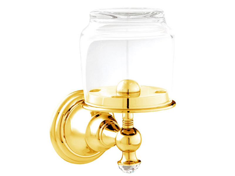 Brass Toothbrush holder with Swarovski Crystals ATLANTICA | Portabicchiere - Bronces Mestre