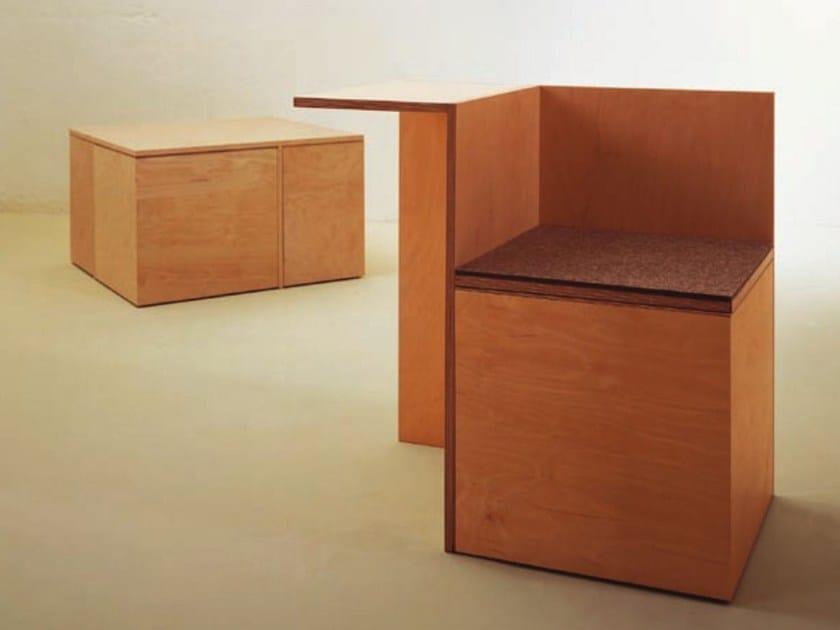 Multi layer wood stool coffee table social cube by for Wood cube coffee table set