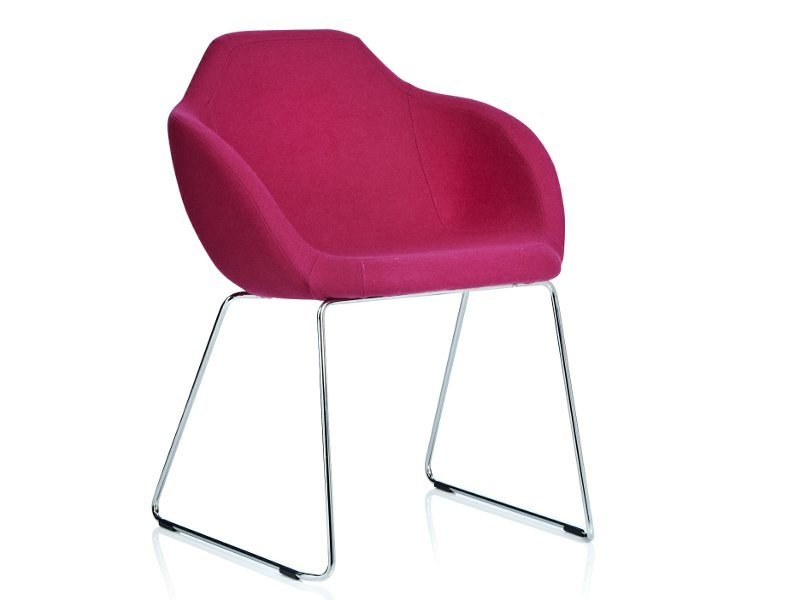 Sled base upholstered chair with armrests ARENA | Sled base chair - Johanson Design