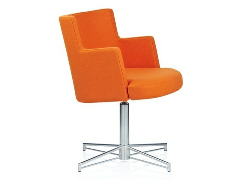 Upholstered easy chair with 4-spoke base with armrests CAPE | Easy chair with 4-spoke base - Johanson Design