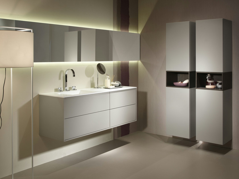 Mueble bajo lavabo suspendido con espejo vita piedra - Mueble lavabo suspendido ...