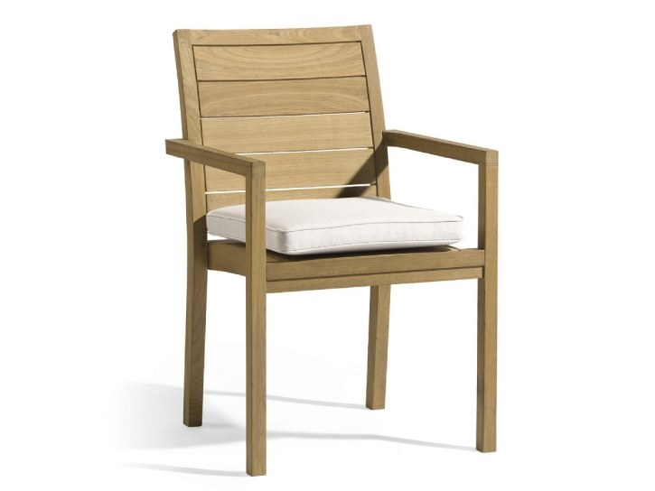 Stackable teak garden chair with armrests SIENA | Garden chair - MANUTTI