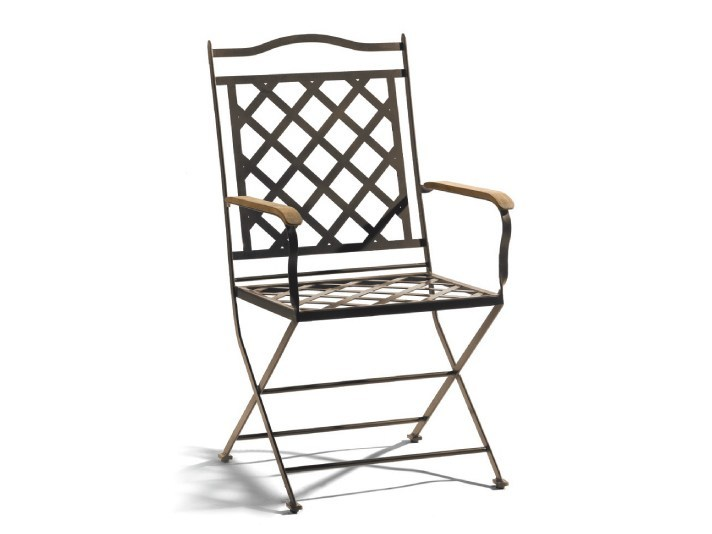 Wrought iron garden chair with armrests ST. TROPEZ | Garden chair with armrests - MANUTTI