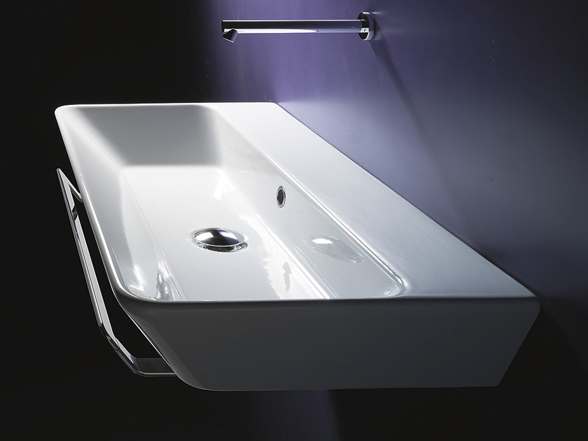 Rectangular wall-mounted ceramic washbasin PROIEZIONI 80 | Washbasin - CERAMICA CATALANO