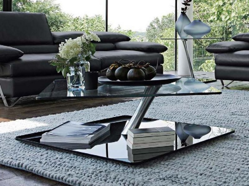 table basse carr e en verre orion by roche bobois. Black Bedroom Furniture Sets. Home Design Ideas