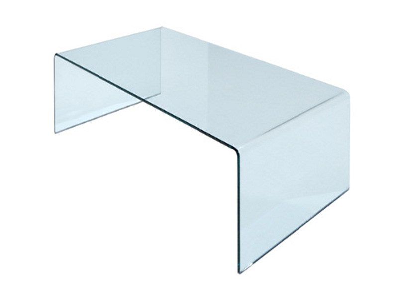 Mesa auxiliar rectangular de vidrio CURVO - Miniforms