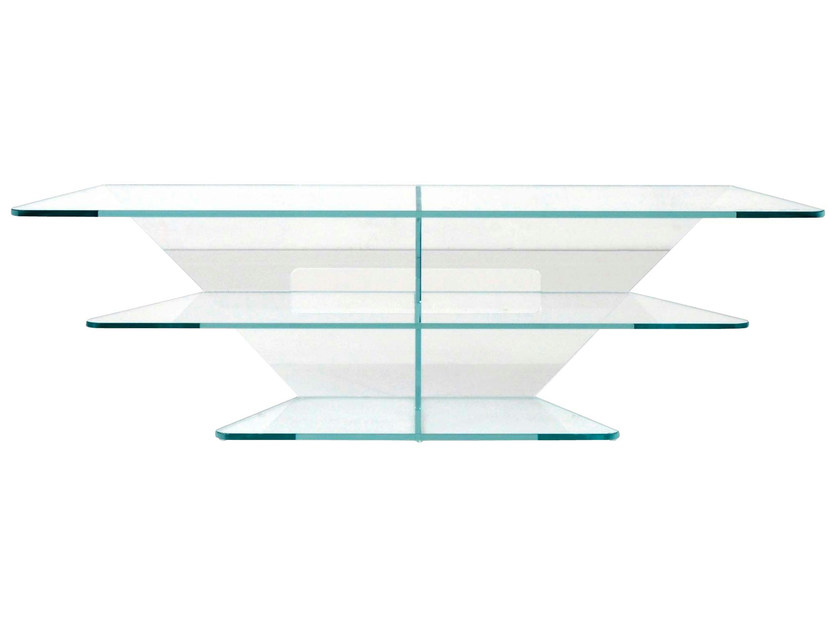 Meuble tv en verre triplan by roche bobois design sacha for Meuble tv en verre design