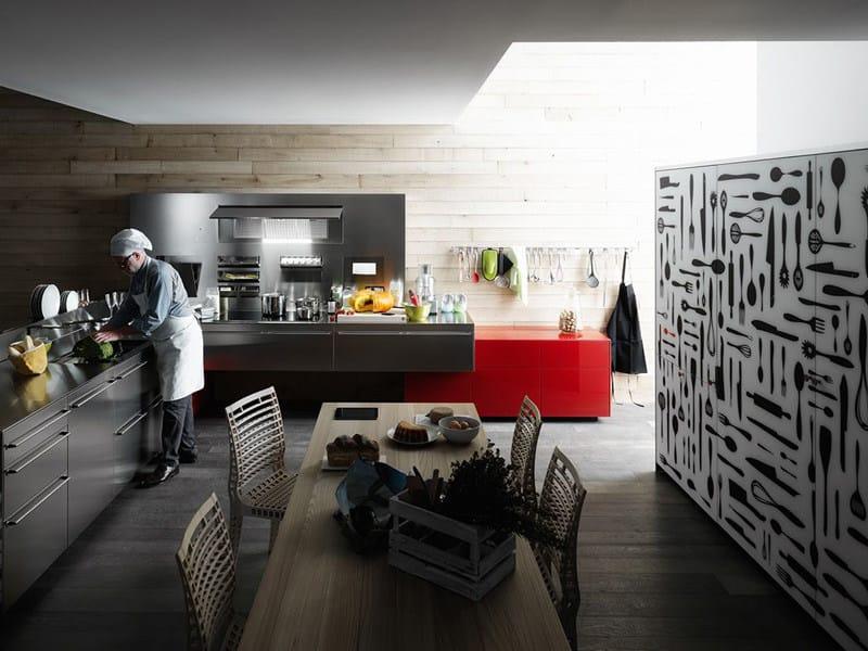 Stainless steel fitted kitchen ARTEMATICA STAINLESS STEEL - VALCUCINE