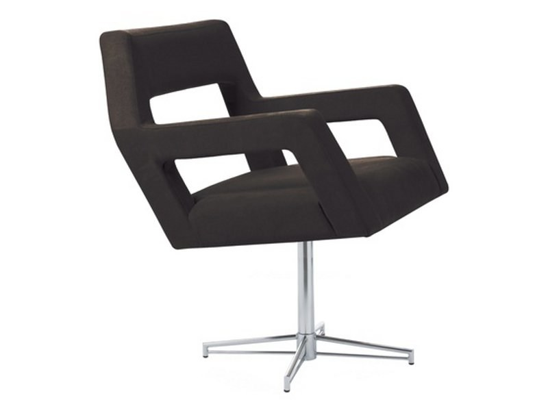Leather easy chair with 4-spoke base with armrests NEMO | Easy chair with 4-spoke base - Johanson Design