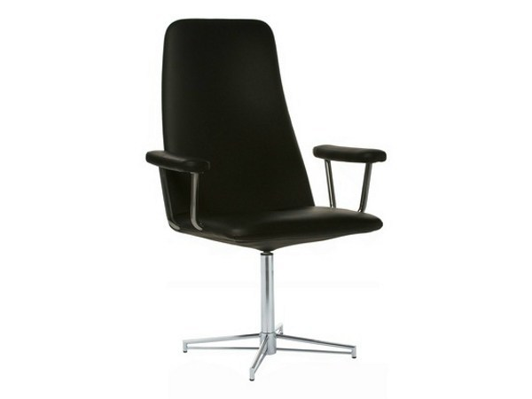 Leather executive chair with 4-spoke base with armrests BELLA | Executive chair with 4-spoke base - Johanson Design