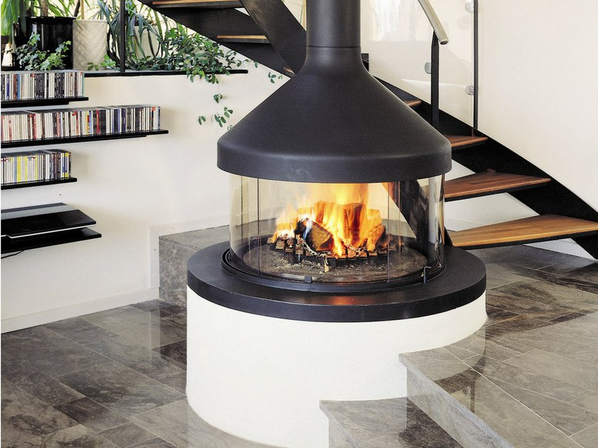 Central fireplace with panoramic glass MEIJIFOCUS by Focus creation