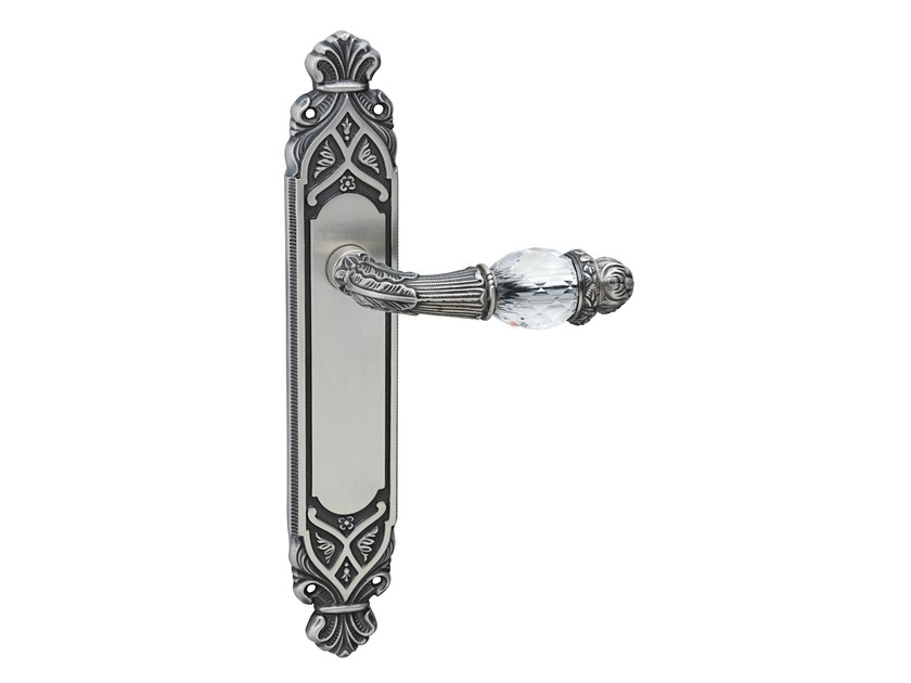 Brass door handle with Swarovski® Crystals on back plate NEW INFINITY | Door handle on back plate - Bronces Mestre
