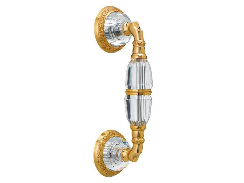 Brass door handle with Swarovski® Crystals on rose INFINITY | Door handle on rose - Bronces Mestre