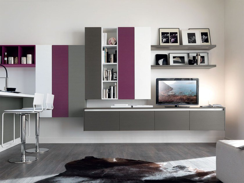 Sectional lacquered storage wall ESSENZA | Storage wall by Cucine Lube