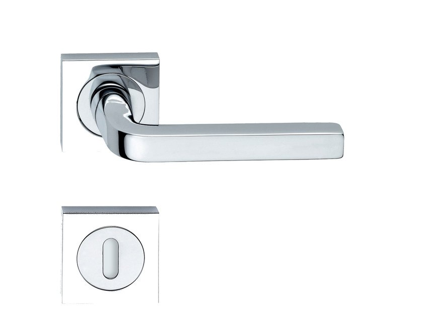 Door handle on rose with lock MILANO QUAD | Door handle - RDS