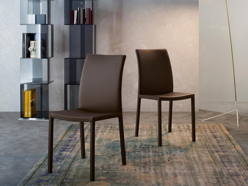Upholstered leather chair MARTA - Bonaldo