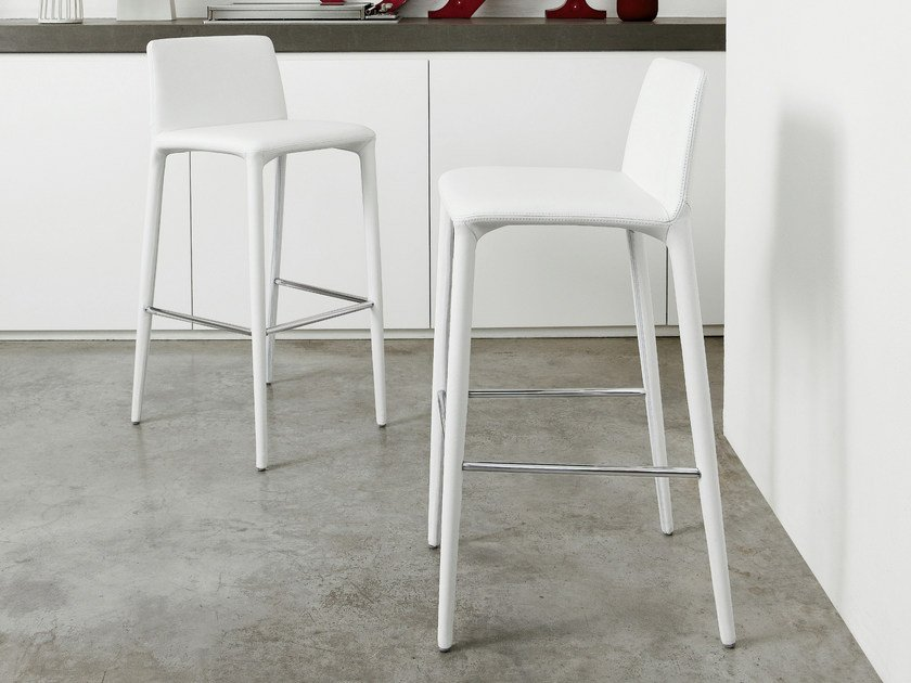 Upholstered leather counter stool REST TOO - Bonaldo
